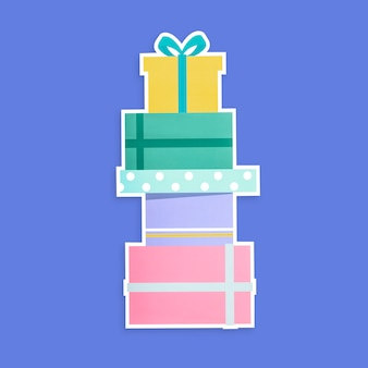 Stack of gift boxes icon isolated