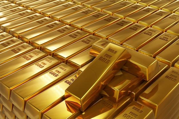 Стек золотых слитков
