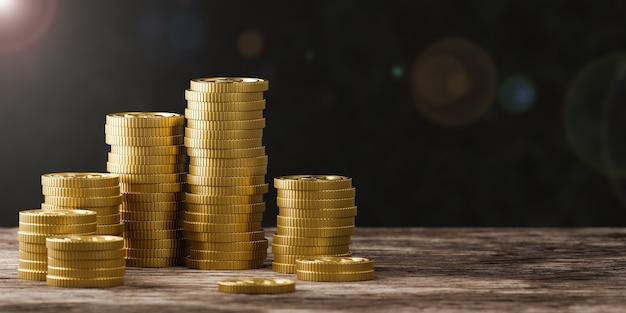 Стек золотых монет на черном фоне. 3d визуализация
