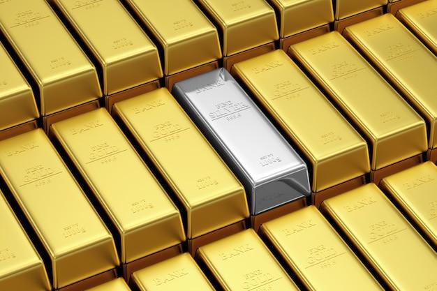 Стопка золотых и серебряных слитков в банковском хранилище