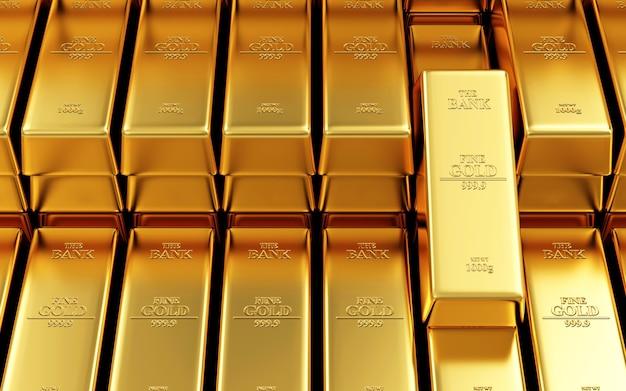 Стопка золотых слитков в банковском хранилище
