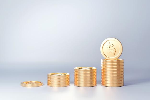 Стек золотой монеты, как график доходов