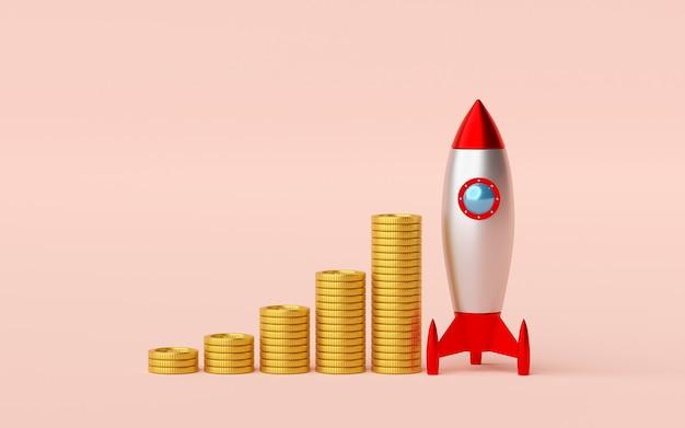 로켓과 황금 동전의 스택
