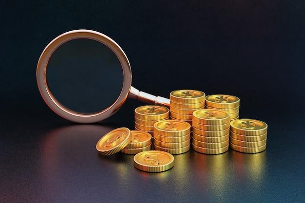 황금 동전과 돋보기의 스택입니다. 3d 렌더링.