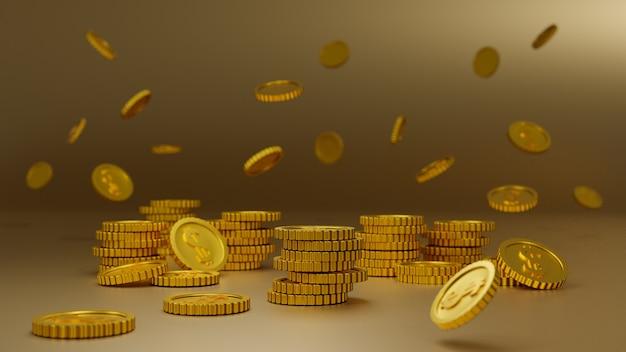 黄金のコインのスタックゴールドの背景