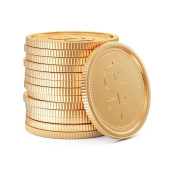 Стек золотых монет, изолированные на белом фоне