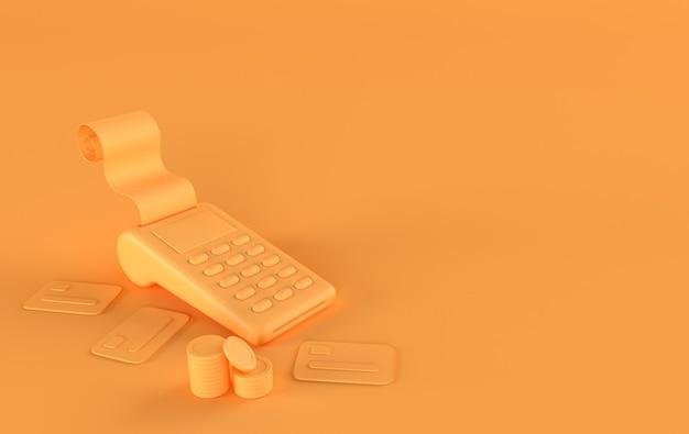 영수증 신용 카드 3d 렌더링이 있는 황금 동전 pos 터미널 스택