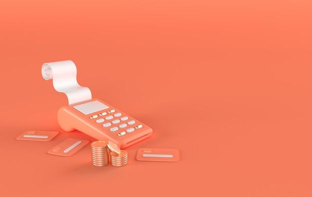 영수증 신용 카드 렌더링 황금 동전 pos 단말기의 스택
