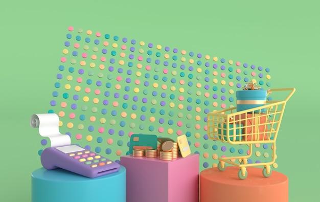 선물 상자가 있는 영수증 신용 카드 쇼핑 카트가 있는 황금 동전 pos 터미널 스택