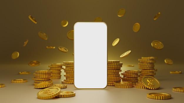 골드 배경 위에 흰색 화면 모바일 모형과 황금 동전의 스택