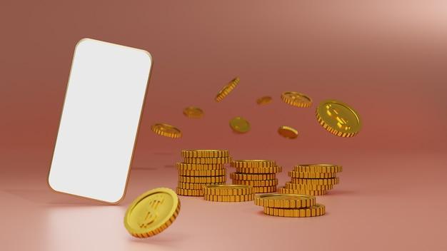 ピンクの背景の上の白い画面のモバイルモックアップと黄金のコインのスタック