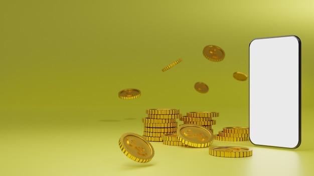 黄色の背景の上に白い画面のモバイルモックアップと黄金のコインのスタック