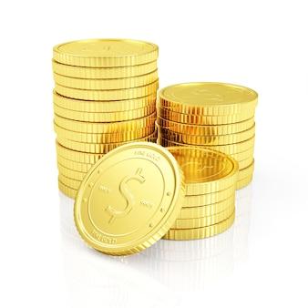 黄金のコインのスタック