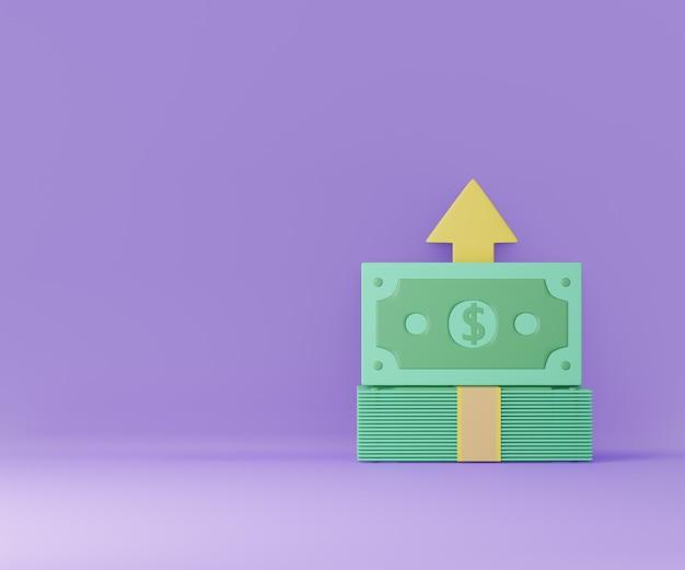 보라색 배경에 위쪽 화살표 더하기 기호가 있는 돈 지폐 더미. 돈 절약, 무현금. 3d 렌더링 그림입니다.