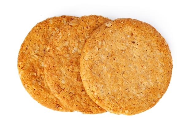 Стек овсяного печенья, изолированные на белом фоне