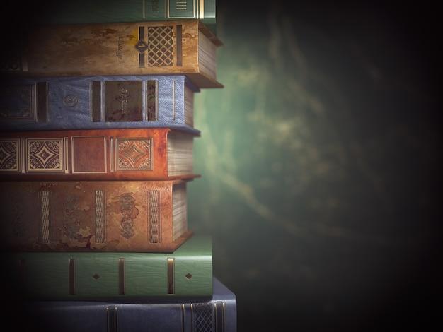 緑のヴィンテージの背景に古い本のスタック。 3dイラスト