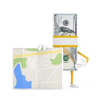 Стог ста долларовых банкнот персонажа талисмана с абстрактной картой плана города на белом фоне. 3d рендеринг