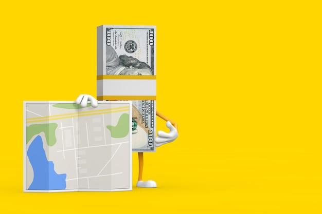 Стог ста долларовых банкнот персонажа талисмана с абстрактной картой плана города на желтом фоне. 3d рендеринг
