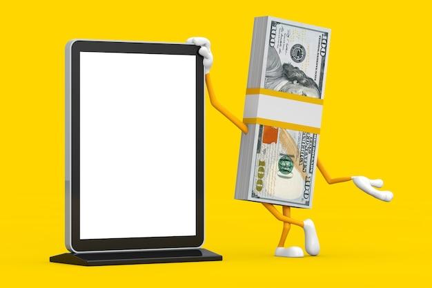 黄色の背景にあなたのデザインのテンプレートとして空白のトレードショーの液晶画面スタンドと百ドル札の人のキャラクターのマスコットのスタック。 3dレンダリング
