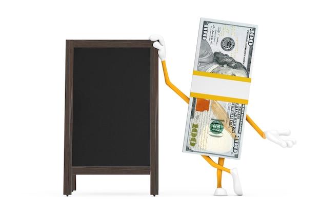 白い背景の上の空白の木製メニュー黒板屋外ディスプレイと100ドル紙幣の人のキャラクターのマスコットのスタック。 3dレンダリング