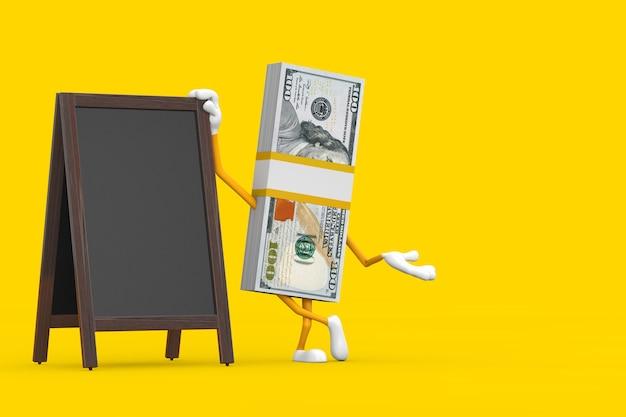 黄色の背景に空白の木製メニュー黒板屋外ディスプレイと100ドル紙幣の人のキャラクターのマスコットのスタック。 3dレンダリング