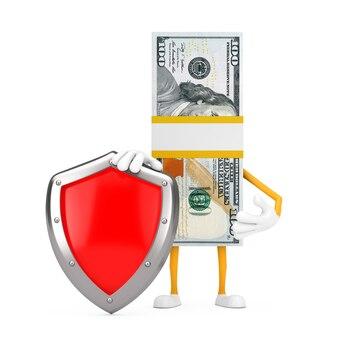 Стог ста долларовых банкнот талисмана характера человека с красным щитом защиты металла на белой предпосылке. 3d рендеринг