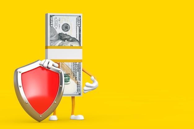 Стог ста долларовых банкнот персонажа талисмана с красным щитом защиты металла на желтом фоне. 3d рендеринг