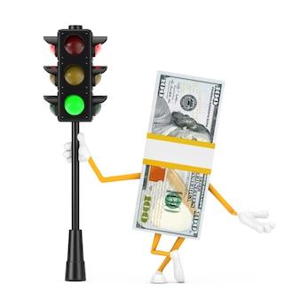 흰색 배경에 녹색 신호등이 있는 100달러 지폐 사람 캐릭터 마스코트의 스택. 3d 렌더링