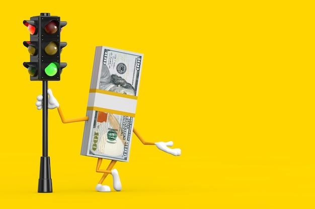 노란색 배경에 녹색 신호등이 있는 100달러 지폐 사람 캐릭터 마스코트의 스택. 3d 렌더링