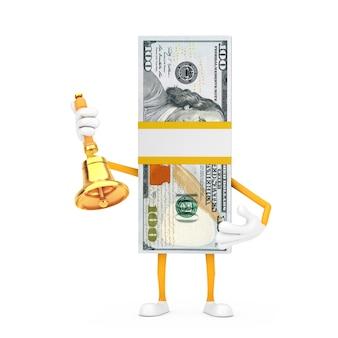 Стог талисмана характера человека сто долларовых банкнот с винтажным золотым школьным колоколом на белой предпосылке. 3d рендеринг