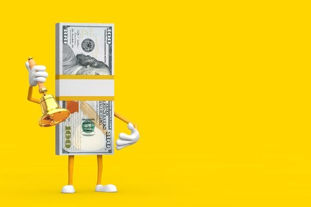 Стог талисмана характера человека сто долларовых банкнот с винтажным золотым школьным колоколом на желтой предпосылке. 3d рендеринг