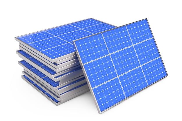Стек фотоэлектрических солнечных панелей на белом фоне. 3d рендеринг