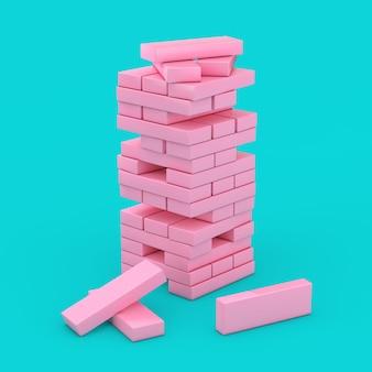 Стек кубиков блока розового кирпича в стиле дуплекса на синем фоне. 3d рендеринг