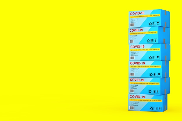 노란색 배경에 바이러스성 질병 신종 코로나바이러스 covid-19 2019 n-cov 판지 상자 패키지에 대한 빠른 테스트 장치 스택. 3d 렌더링
