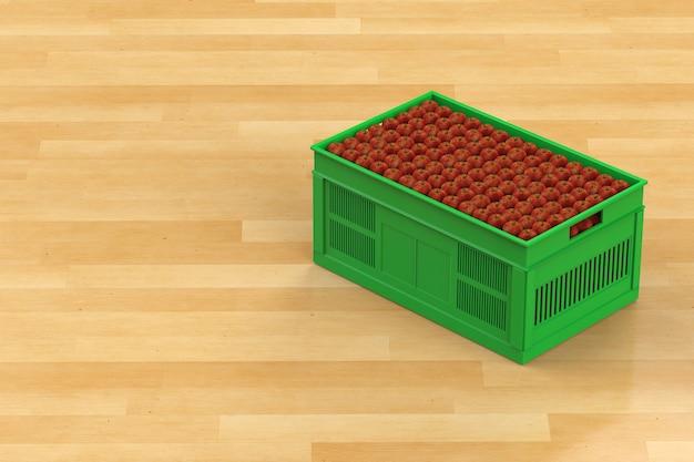 Стек красных яблок в пластиковом ящике на деревянном фоне