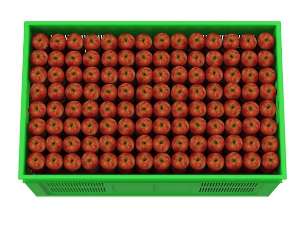Стек красных яблок в пластиковом ящике Premium Фотографии