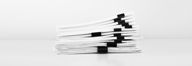 ビジネスデスク用のレポートペーパードキュメント、年次レポートファイル用のビジネスペーパーのスタック。営業所のコンセプト。