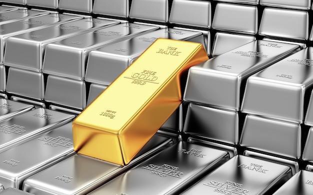 Стопка серебра и золотого слитка в банковском хранилище