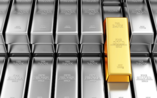 Стопка серебряных и золотых слитков в банковском хранилище