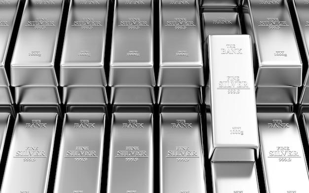 Стопка серебряных слитков в хранилище банка аннотация