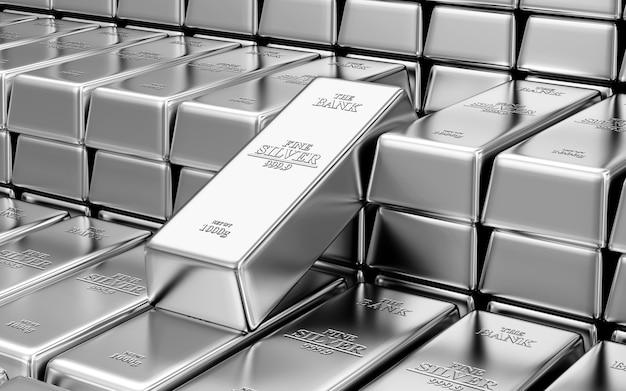 Стопка серебряных слитков в банковском хранилище