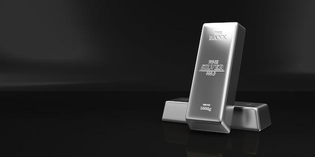 Стек серебряных слитков на черном фоне