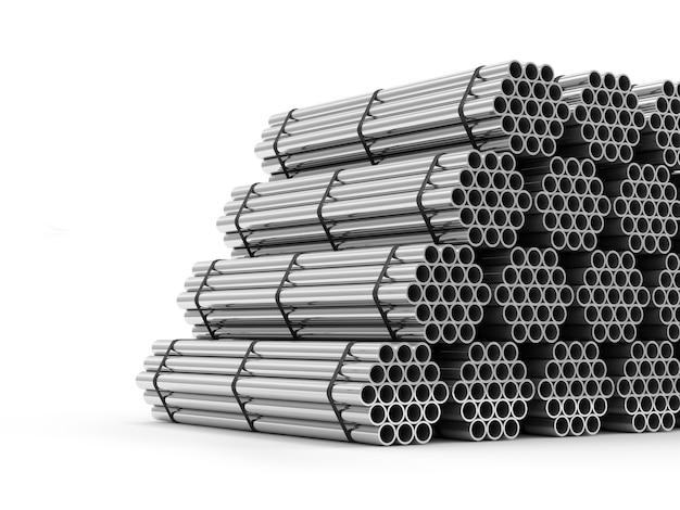 Стек стальных металлических труб, изолированные на белом фоне