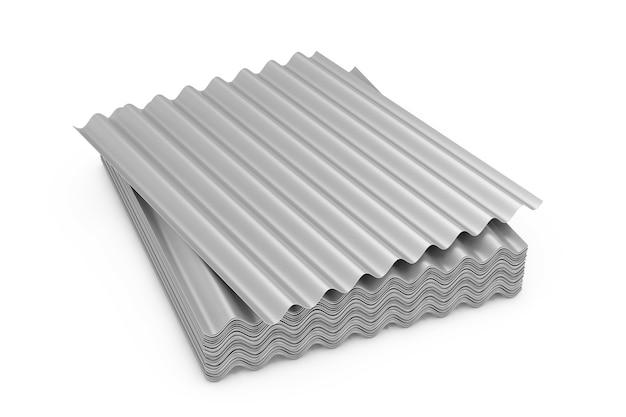 Стек стальных металлических цинковых оцинкованных листов волны для крыши на белом фоне. 3d рендеринг