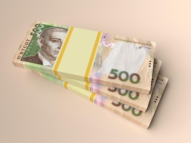 Стек украинских денег гривна (гривна, гривна) с 500 банкнот