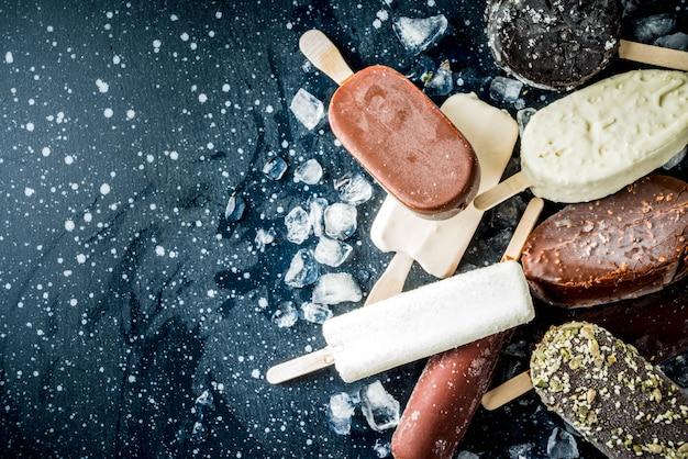 さまざまなアイスキャンディーアイスクリームのスタック