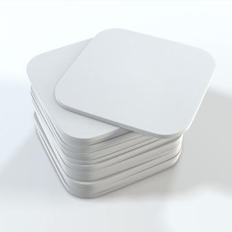 Стек белых квадратных подставок. 3d рендеринг.
