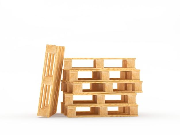 Стек деревянных пустых поддонов и один вертикальный поддон