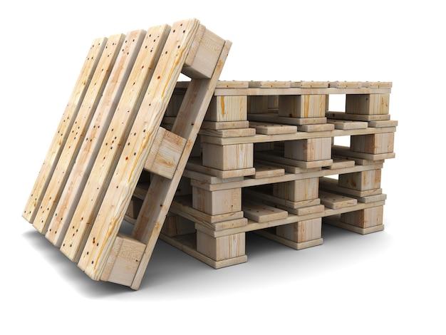 Стек деревянных поддонов изолированные