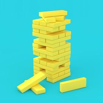Стек кубиков блока желтого кирпича в стиле дуплекса на синем фоне. 3d рендеринг